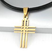 Gold Matrix Gothic Celtic Cross Pendant Black Leather Choker Necklace Cord NEW