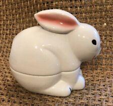 NIB_Jobar_White Bunny_Cotton Ball_Dispenser Swab Container_Glazed Porcelain