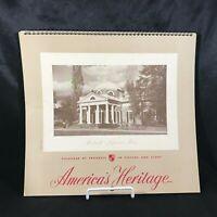 Vintage 1959 Wall Calendar AMERICA'S HERITAGE