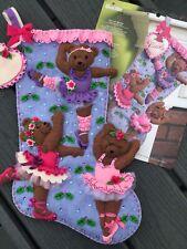 "Bucilla~  18 "" Felt  Christmas Stocking,~Handmade,Finished ~""BALLET BEARS"""