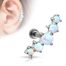 Triple Opal Ball CARTILAGE Tragus Ear Bar Barbell Earrings Ring Piercing Jewelry