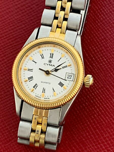 CYMA LADIES SEA WAVE STEEL & GOLD QUARTZ WRIST WATCH WITH DATE BOX & PAPERS!