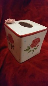 Beautiful Pink Rose Hand Painted Porcelain Tissue Cover