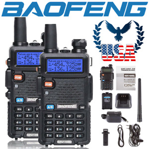 US 2x Baofeng UV-5R Dual-Band 2m/70cm VHF UHF FM Transceiver Ham Two-way Radio