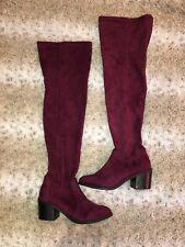 Purple Over The Knee buffalo Boots 38.5 39 Size 6 new velvet Cuban heel gogo