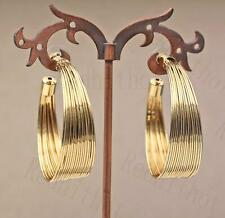 18K Gold Filled Earring Multilayer Stripe Ear Stud Fashion Hoop Lady Jewelry DS