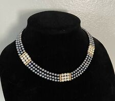 "16"" Triple Strand 14k Gold Clasp/Dividers Akoya Pearl Necklace"