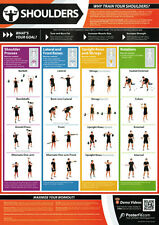 SHOULDER WORKOUT Professional Fitness Training Gym PosterFit Poster w/QR Code