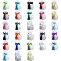"50 pcs Satin Chair Cover Bow Sash 108""x8"" Wedding Party Banquet Reception"