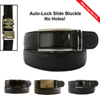 Fashion Mens Auto-Lock Slide Buckle Leather Belt Waist Ratchet Leisure Waistband