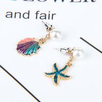 Sea Shell Starfish Stud Earrings Asymmetry Drop Earrings Female Jewelry Summer
