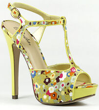 Floral T-Strap Open Toe Mary Jane Platform Dress Sandal Zelda Yellow Orange Pink