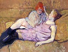 On the Couch Sofa Lesbian Pic Toulouse Lautrec Canvas or Fine Art Poster Print