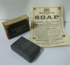 ANTIQUE BOXED SIMPSON BLACK ERASIVE SOAP MYER CHEMIST PHARMACY MELBOURNE SIGN