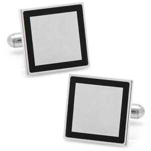 Ox and Bull Trading Co. Stainless Steel Square Engravable Framed Cufflinks