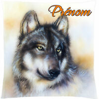 coussin loup personnalisé prénom au choix réf 134