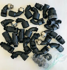 WOW!!! HUGE Lot Flexicon 90 Degree Elbow Black Nylon Electrical Cable Gland