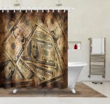 "72x72"" Banknotes Coin Dollar Bathroom Shower Curtain Set Hook Money Bills Wealth"