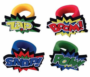 12  x Super Hero Rings - Pinata Toy Loot/Party Bag Fillers Wedding/Kids