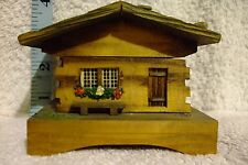 Wooden Musical box. Vintage mountain chalet from Switzerland. Wind up.