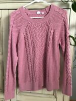 GAP Pink Blush Mauve Cable Knit Long Sleeve Shirt Sweater Women's Size Medium