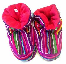 ETHICAL MEN LADIES UNISEX FLEECE WINTER HARLEQUIN HIPPY BRIGHT RAINBOW SLIPPERS