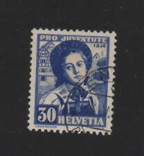 SUISSE N° 301 OBLITERE. 1936 .30 + 10c BLEU ET BISTR  ..COTE 24 €. PRIX: 3,95 €