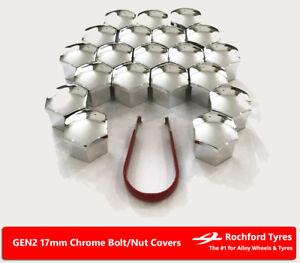 Chrome Wheel Bolt Nut Covers GEN2 17mm For Nissan Qashqai [Mk2] 14-17