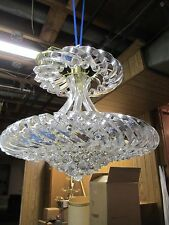 Mid Century Vintage Hollywood Regency Lucite Twisted Ribbon Chandelier