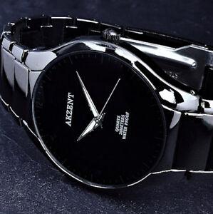 Akzent Herren Männer Armband Uhr Schwarz Flaches Design im Keramik Look