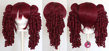 18'' Ringlet Curly Pig Tails + Base Burgundy Red Cosplay Lolita Wig NEW
