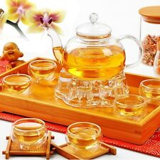 Chinese Gongfu Glass Tea Pot Set With Infuser Filter Tealight Warmer 6 Cups