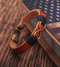 G180 Brown Cool Leather Hemp Infinity Friendship Bracelet Bangle Wristband Men