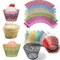 50Pcs Filigree Vine Cupcake Wrappers Cases Gift Xmas Wedding Birthday Cake