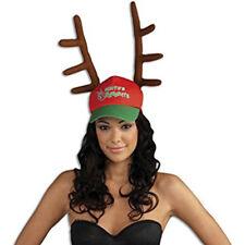 Santa's Favorite Reindeer Baseball Hat & Antlers Christmas Adult Holiday Cap