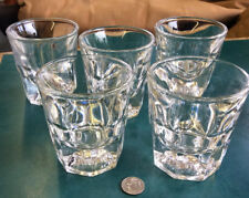 5 Very Classy Vintage Heavy Weighted Paneled Bottom Rocks Tumbler Glasses Libbey