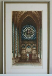 Sainte Chapelle Antique Colour Etching Paris Signed