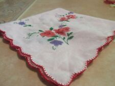 BEAUTIFUL VINTAGE LADIES HANDKERCHIEF SEE PHOTOS FOR COLORS 11X11 H2
