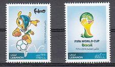 LEBANON-LIBAN MNH SC# 712-713 FIFA BRAZIL 2014 SET OF 2 STAMPS