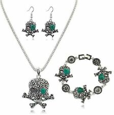 Tibetan Silver Skeleton Pendant Necklace Dangle Earrings Turquoise Jewelry Sets
