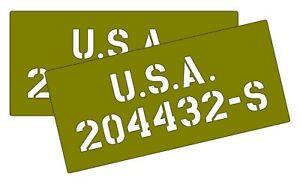 Jeep dodge GMC Bonnet / Hood number and U.S.A. stencils wartime ww2 military veh