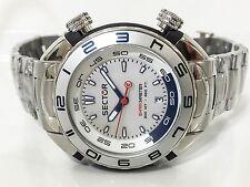 Mens Sector R3253178045 Shark Master Silver Dial Diver Bracelet Quartz Watch New