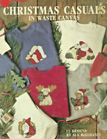 Christmas Casuals In Waste Canvas Cross Stitch Pattern Leaflet holiday Santas