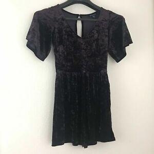American Eagle XS Romper Velvet Shorts V Neck Purple Crushed Velvet Pockets New