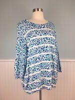 Size 2X Lands End Supima Cotton Floral Sweater Top Shirt Women's Plus 20W 22W