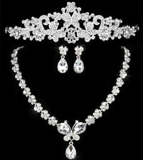 Wedding Bride Crystal Diamond Tiara Crown Necklace Pendant Earrings Jewelry Set