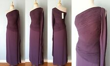 *NWT $595 Halston Heritage Plum Pleated One Shoulder Formal Dress Women Size 6 S