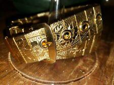 "L@@k!!! GOLDTONE watchband Bracelet 15"" long with flowers"