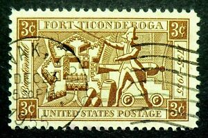 1071 used 1955 3c Fort Ticonderoga New York Lake Champlain George Ethan Allen