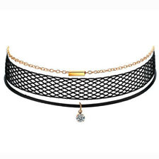 3 layers levels Black fishnet gold chain charms gothic Neck Choker Necklace N564